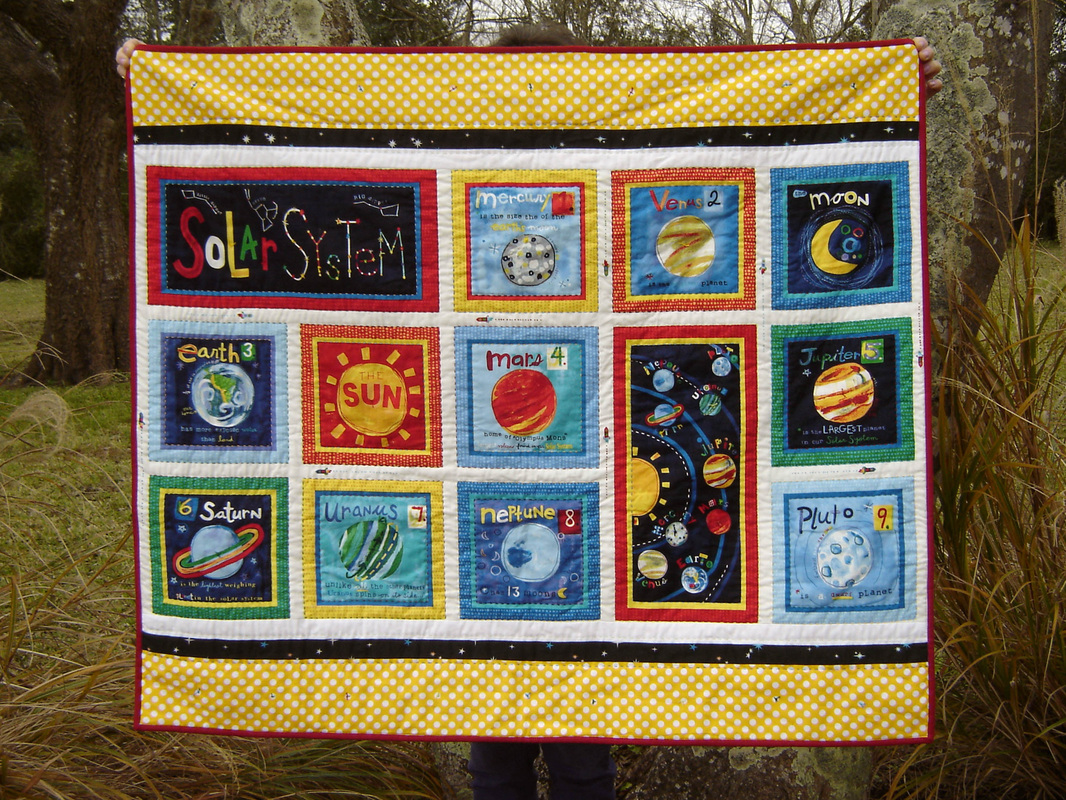 The solar system quilt marci girl designs for Solar system fabric panel